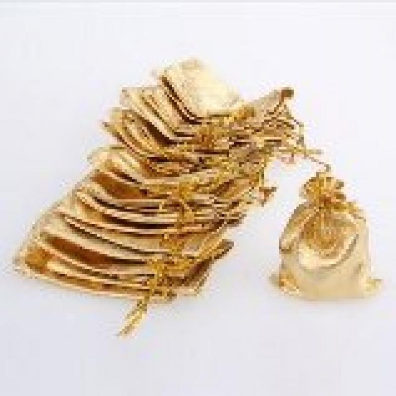 Schmuckbeutel Organza gold 100 Stück