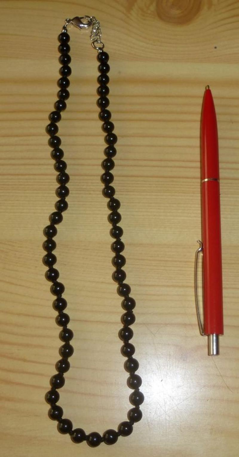 Kette aus 6 mm Schörl (Turmalin) Kugeln, 45 cm lang, 1 Stück