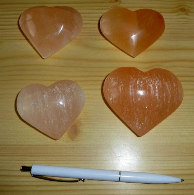 Selenit Herz, orange, ca. 7 cm, 1 Stück