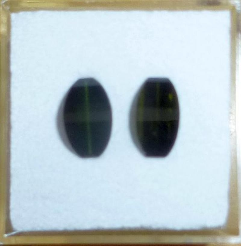 Turmalin fazettiert, Katzenauge, 2 Steine je 9 mm, Karibib, Namibia