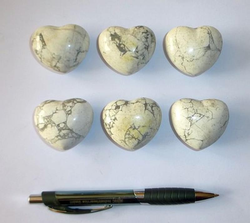 Herz aus Howlit/Magnesit, unbehandelt, ca. 4 cm, 1 Stück