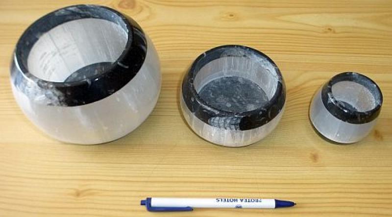 Orthoceras/Selenit Teelicht klein, schwarz/weiß, ca. 5 cm, 1 Stück
