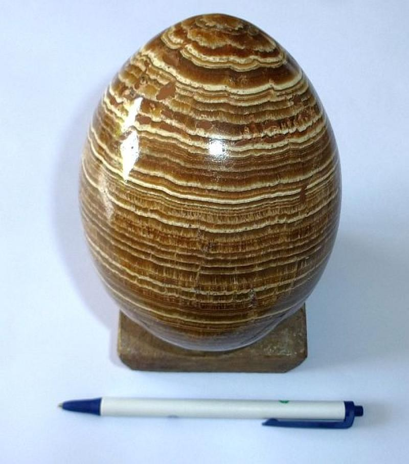 Aragonit Ei, gelb-braun, gebändert, groß, 1 Stück