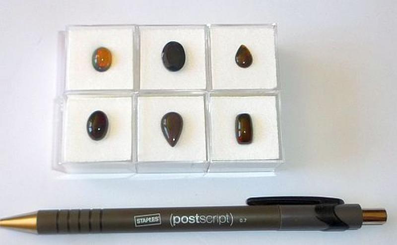 Opal fazettiert + Cabochons, 6 Stück, TOP, Welo, Äthiopien