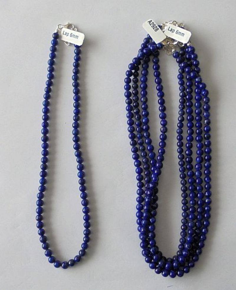 Kette aus 6 mm Lapis-Lazuli Kugeln mit Echtsilberverschluß, 45 cm lang, 1 Stück