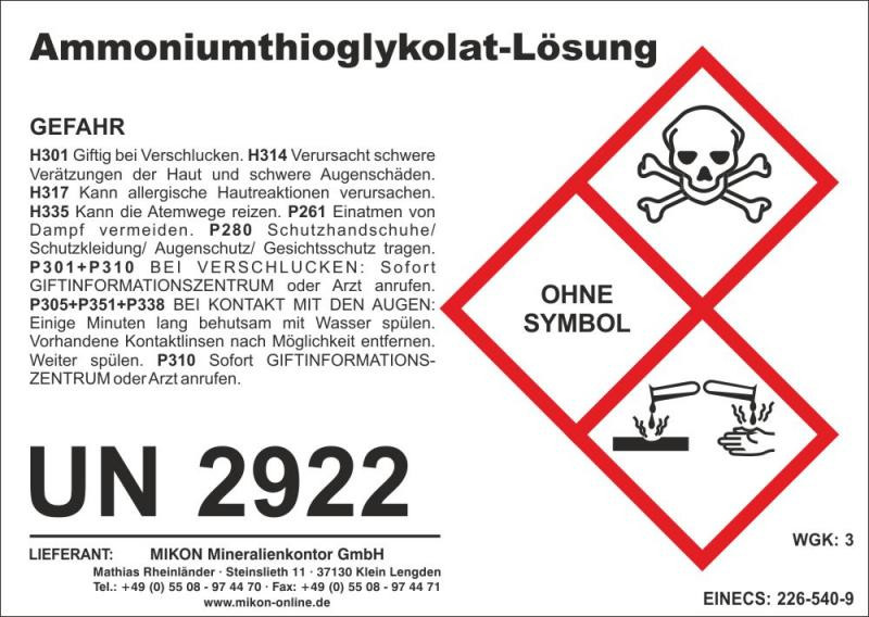 Ammonium Thioglycolat (Ammoniumthioglycolat, Pyritkonservierer) 1 l