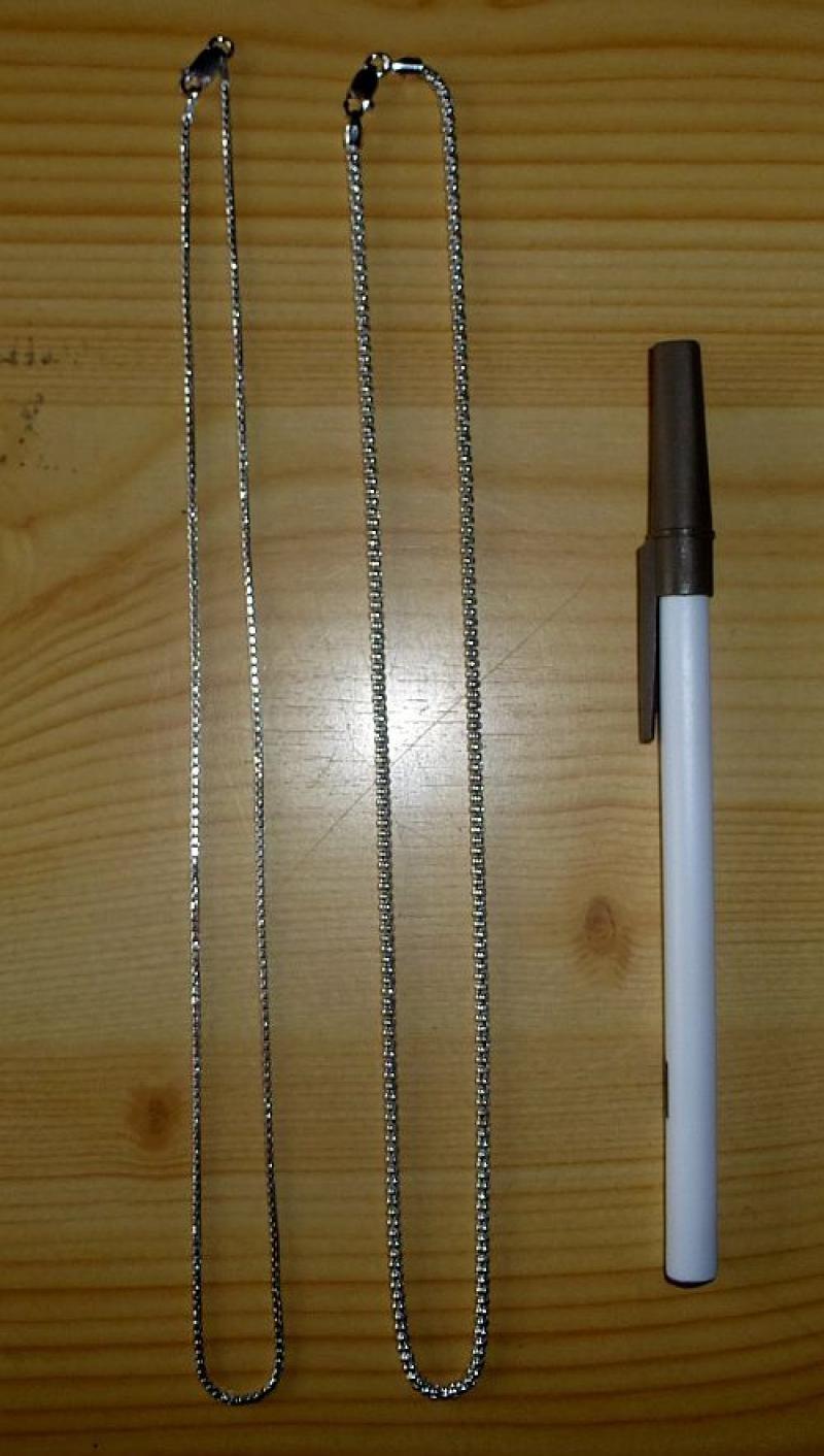 """Silberkette (echt Silber, rhodiniert, """"Venizianer-rund"""") 38 cm, 1 Stück"""