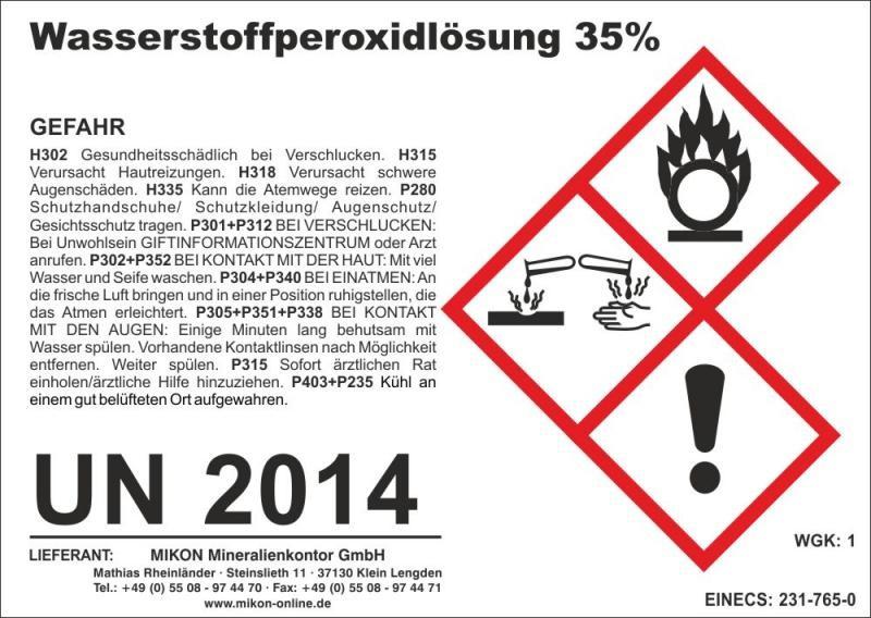 Wasserstoffperoxid 35% (H2O2) 70 kg (ca. 63 l)