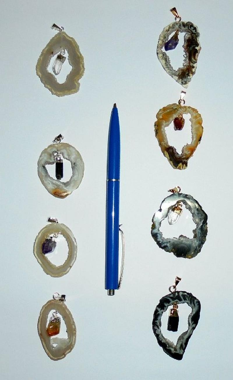 Achat-Drusenscheiben Anhänger mit beweglichem Kristall, goldene + silberne Fassung, 10 Stück