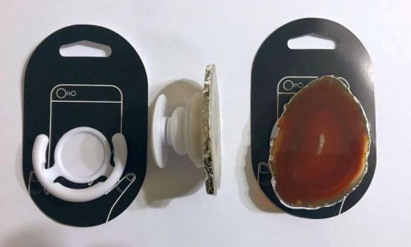 Handyhalterung (Aufklappbar) mit Achatscheibe (naturfarben - orange), 1 Stück