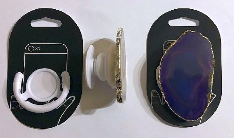 Handyhalterung (Aufklappbar) mit Achatscheibe (violett), 1 Stück
