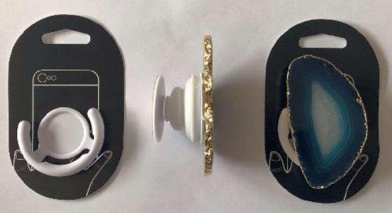 Handyhalterung (Aufklappbar) mit Achatscheibe (türkis), 1 Stück
