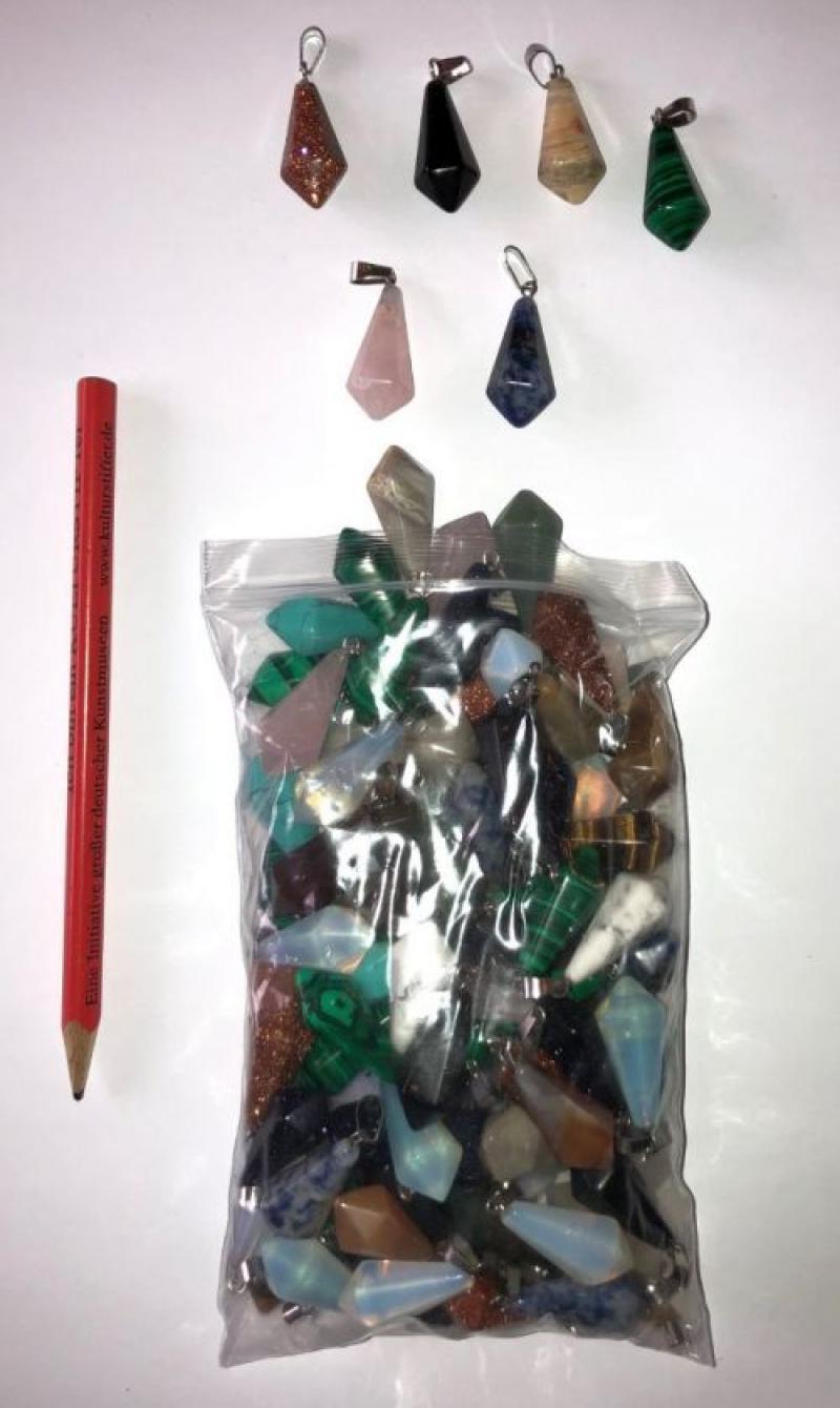Edelstein Pendelanhänger, pentagonal, klein, bunt gemischt, 10 Stück