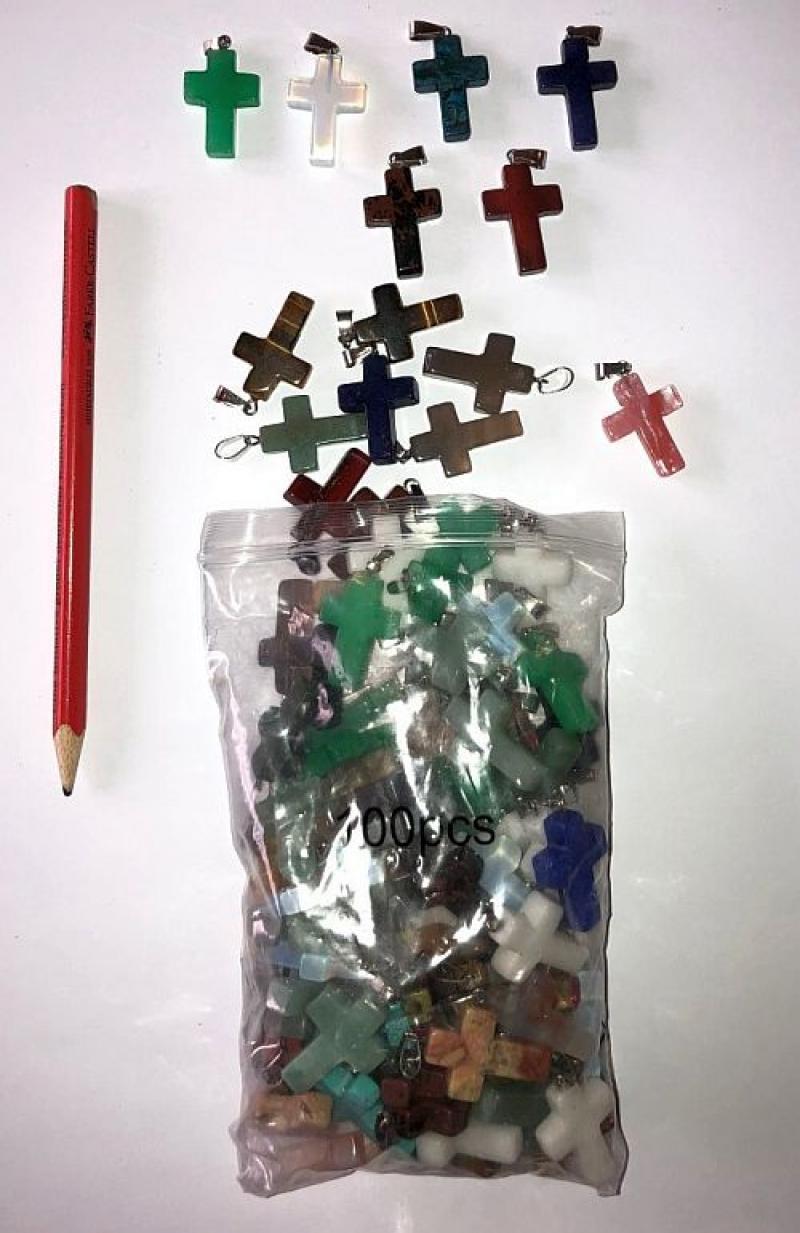 Anhänger, 2,5 cm (Kreuz mit Öse) 100 Stück bunt gemischt