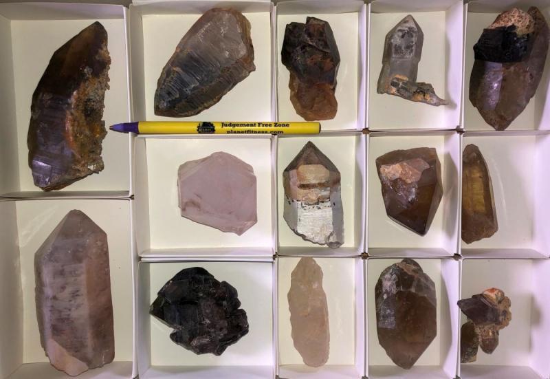 Rauchquarz + Bergkristall Kristalle, Erongo, Namibia, 1 Steige