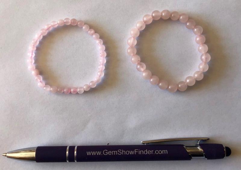 Armband für Kinder, Rosenquarz, 6 mm Kugeln, 1 Stück
