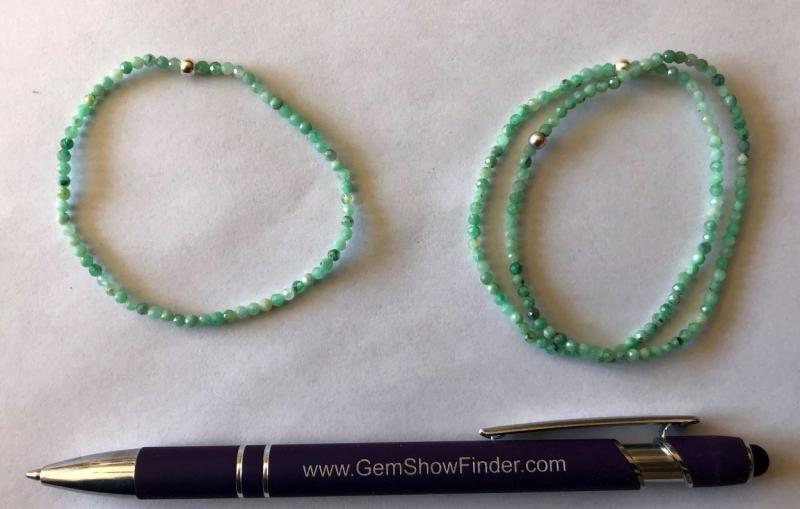 Armband, Smaragd (facettiert) und Echtsilberkugel, 3 mm Kugeln, 1 Stück