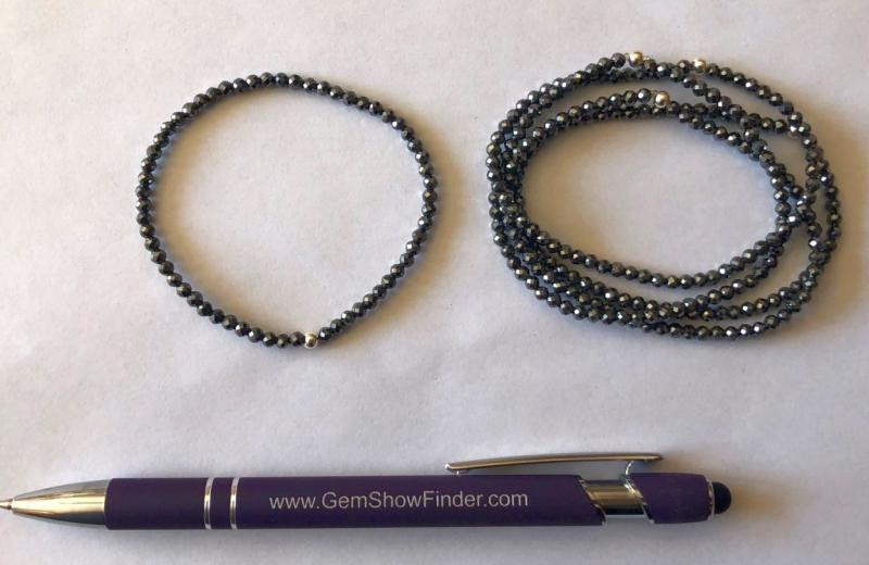 Armband, Hämatit (facettiert) und Echtsilberkugel, 3 mm Kugeln, 1 Stück