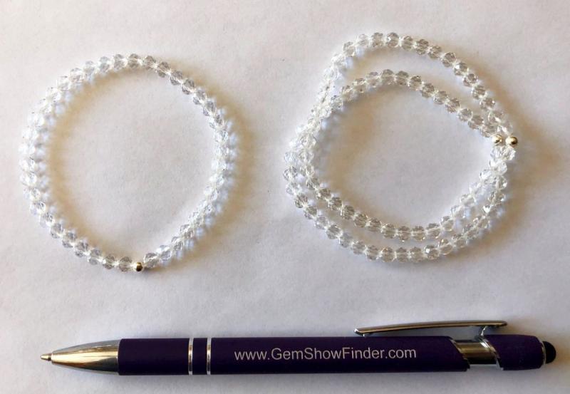 Armband, Bergkristall (facettiert) und Echtsilberkugel, 4 mm Kugeln, 1 Stück