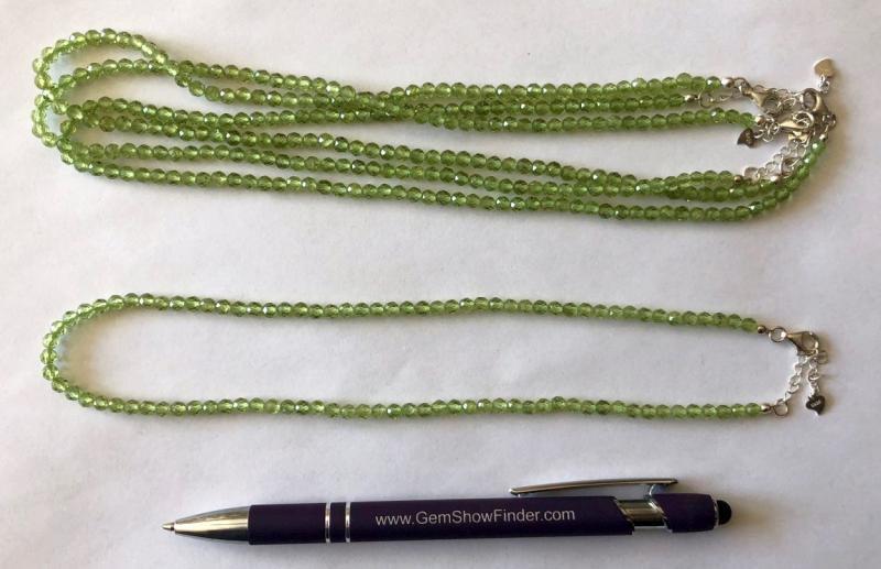 Kette aus 4 mm Olivin-Peridot Kugeln, facettiert, 45 cm lang, 1 Stück