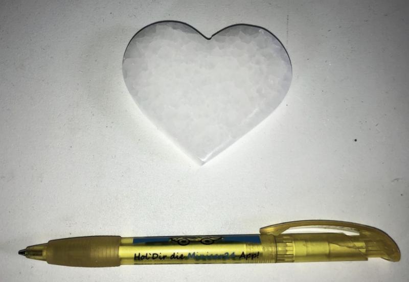 Selenit, weiß, Chakra Scheibe, 7 cm, herzförmig, poliert, 1 Stück
