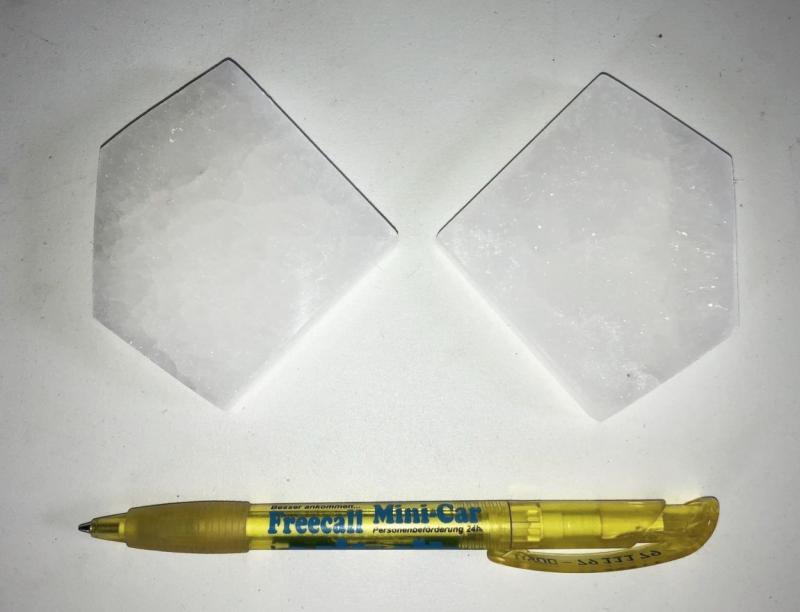 Selenit, weiß, Chakra Scheibe, 7 cm, Pentagon, poliert, 10 Stück