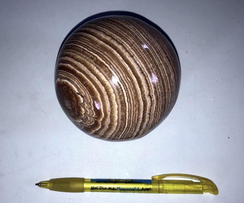 Aragonit Kugel, braun-gebändert, 10 cm, 1 Stück