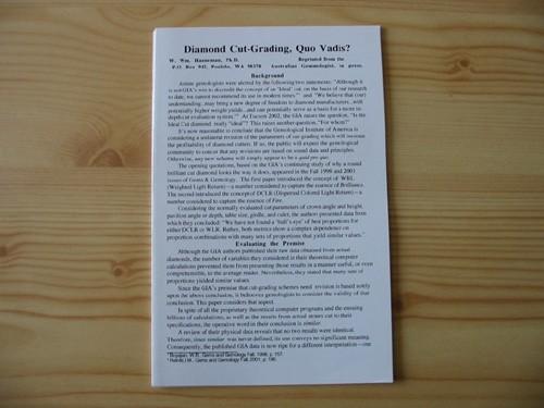 Diamond Cut-Grading, Quo Vadis?, by W. Hanneman