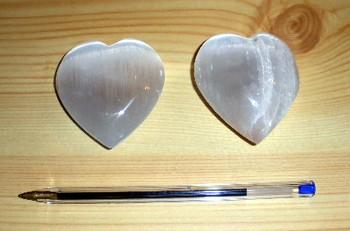 Selenit Herz, weiß, ca. 7 cm, 1 Stück
