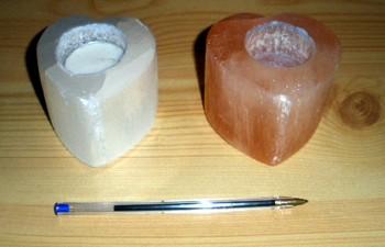 Selenit Teelicht in Herzform, orange, poliert, ca. 10 cm, 1 Stück