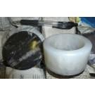 Orthoceras/Achat - Dose, schwarz/weiß, 9 cm mit Deckel 1 Stück