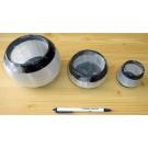 Orthoceras/Selenit Teelicht groß, schwarz/weiß, ca. 10 cm, 1 Stück