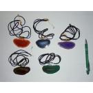 Achatscheibe in Metallfassung (silber) als Kette