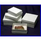 """8,75 x 6,25 x 1,88 cm Schmuckkartondosen """"cotton lined"""" für Mineralien und Schmuck, mit Einlage und Deckel. Karton mit 100 Stück"""