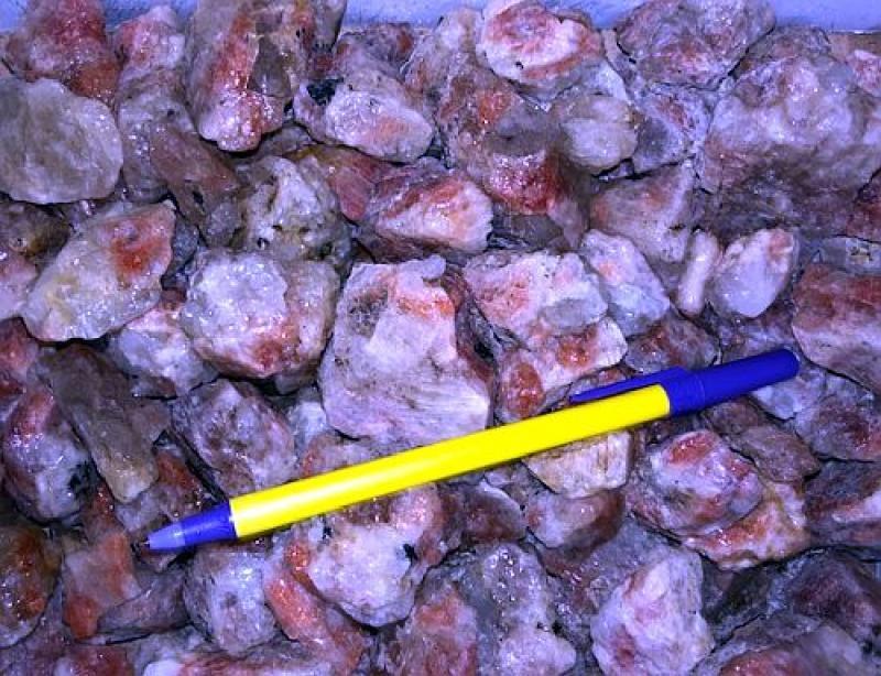 Sunstone with matrix (orange moonstone, oligoclase) Tanzania, 10 kg