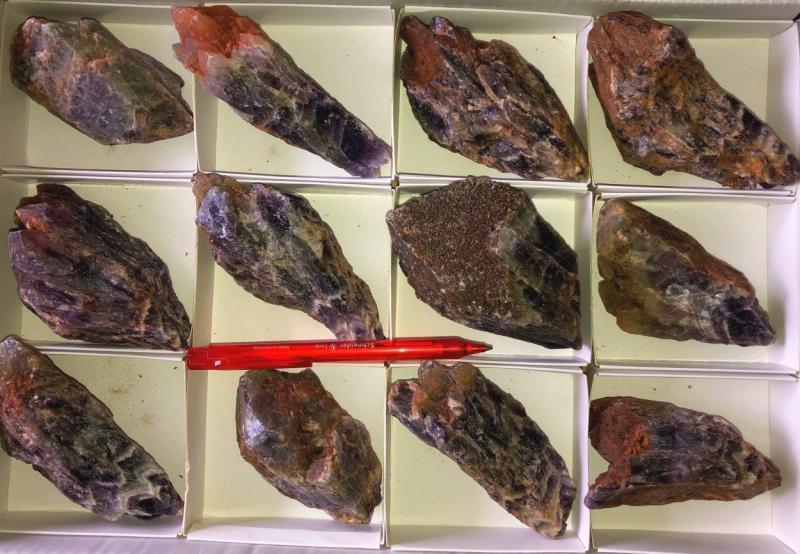 Amethyst (Chevron with crystal terminations!), Zambia, 1 flat