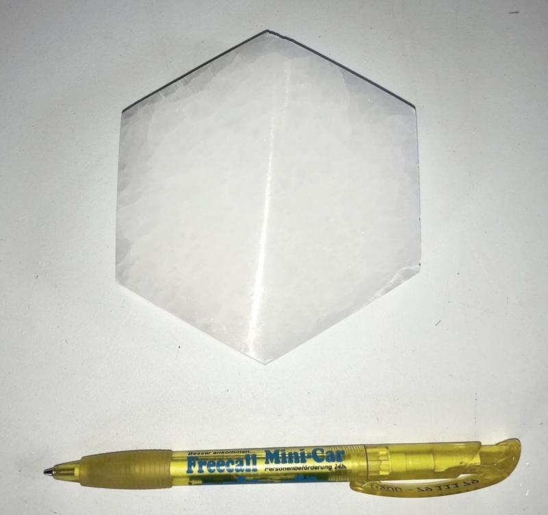 Selenite, white, Chakra disc, 10 cm, hexagonal, 10 pieces