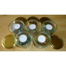 Glass Candle Ligth Holder with yellow opal chips (200g), 1 piece