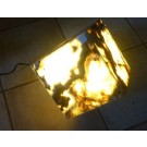 """Aragonite (""""Onyx"""") lamp, cube 20 cm on the egdes, with electrical installation, 1 piece"""
