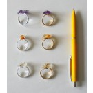 Ring (size adjustable), golden with 2 amethyst crystals, 1 piece