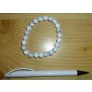 Wrist band, howlite, 8 mm spheres, 1 piece