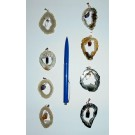 Agate geode-slice pendant with swinging crystal, silver setting, 1 piece