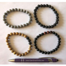 Wirst band for men, agate, grey, 8 mm spheres, 1 piece