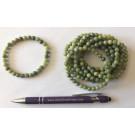 Wrist band, jade, 6 mm spheres, 1 piece