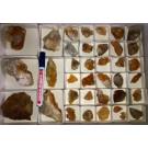 Calcite crystals on matrix, orange, La Sambre, Landelies, Charleroi, Belgium, 1 flat (smaller specimen)
