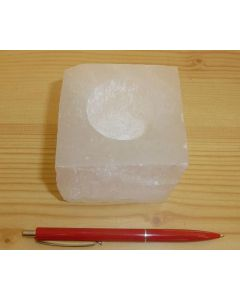 Selenit Teelicht, quadratisch, weiß, poliert, 1 Stück