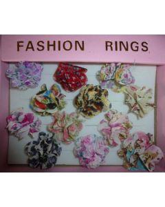 Blütenringe aus Textil, Set mit 12 Stück verschiedenen