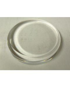 Plexiglassockel, ganz poliert, rund, 7,5 cm Durchmesser, 2,5 cm Stärke. 1 Stück (BR31)