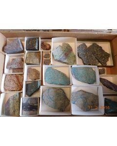 Erz + Gesteinssammlung, geschnitten, New Cornelia Mine, Ajo, AZ, USA, 1 Steige