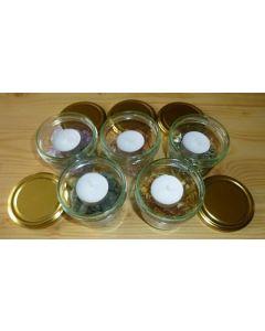 Teelicht Glas mit gelben Opal Chips (200g), 1 Stück